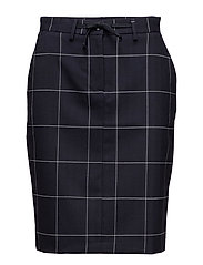 O2. CHECK STRETCH SKIRT - EVENING BLUE