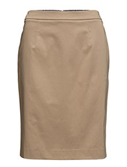 O1. SATIN STRETCH SKIRT - WARM KHAKI