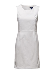 O1. SLEEVELESS SATIN STRETCH DRESS - WHITE