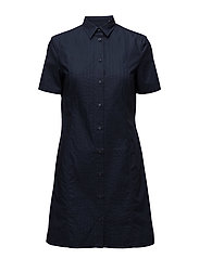O1. PLEATED SHIRT DRESS - MARINE