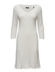 O1. FLARED COTTON CABLE DRESS - EGGSHELL