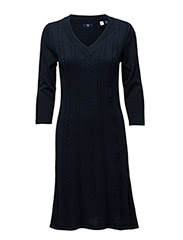 O1. FLARED COTTON CABLE DRESS - EVENING BLUE