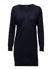FINE MERINO WOOL CASUAL DRESS - MARINE