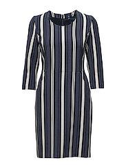 O1. DOWNTOWN STRIPE DRESS - HURRICANE BLUE