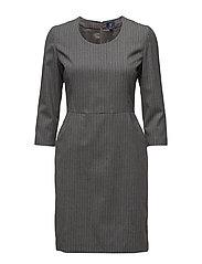 O1. PINSTRIPE DRESS - CHARCOAL MELANGE