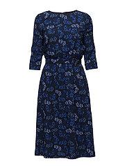 O1. BERRY PRINTED DRESS - EVENING BLUE