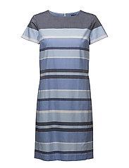 O2. STRIPE DRESS - CAPRI BLUE