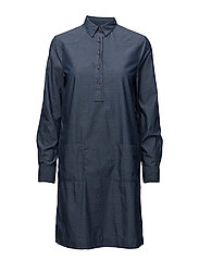 O1. TP DOBBY CHAMBRAY SHIRT DRESS - INDIGO