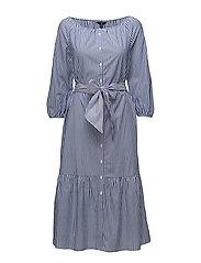 O1. PREPPY STRIPED SHIRT DRESS - YALE BLUE