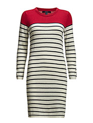 BRETON STRIPE DRESS - CREAM
