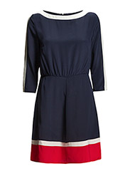 BLOCK SILK DRESS - THUNDER BLUE