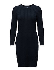 STRETCH COTTON CABLE DRESS - EVENING BLUE