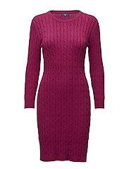 STRETCH COTTON CABLE DRESS - RASPBERRY PURPLE
