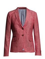 LINEN BLAZER W. ELBOW PATCHES - RASPBERRY