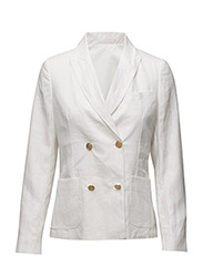 YC. DOUBLE BREASTED LINEN BLAZER - OFFWHITE