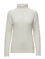 O2. TEXTURED MERINO TURTLE NECK - EGGSHELL