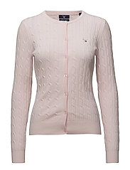 STRETCH COTTON CABLE CREW CARDIGAN - BARLEY PINK