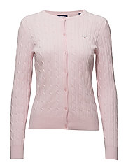 STRETCH COTTON CABLE CREW CARDIGAN - LIGHT PINK