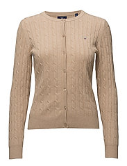 STRETCH COTTON CABLE CREW CARDIGAN - LT CAMEL MEL