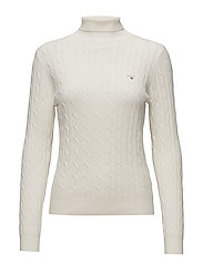 STRETCH COTTON CABLE TURTLE NECK - EGGSHELL