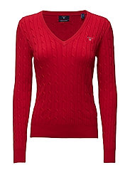 STRETCH COTTON CABLE V-NECK - CLEAR RED