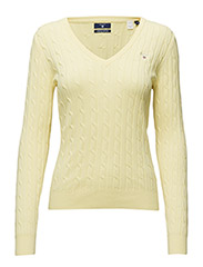 STRETCH COTTON CABLE V-NECK - LIGHT YELLOW