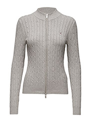 STRETCH COTTON CABLE ZIP CARDIGAN - LIGHT GREY MELANGE
