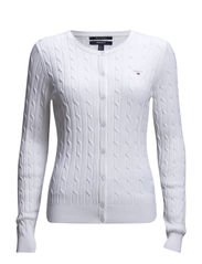 STRETCH COTTON CABLE CREW CARDIGAN - WHITE