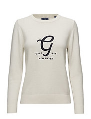 O2. EMBROIDERY COTTON WOOL CREW - EGGSHELL