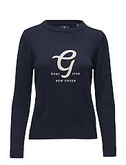 O2. EMBROIDERY COTTON WOOL CREW - EVENING BLUE