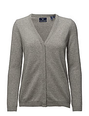 SUPER FINE LAMBSWOOL CARDIGAN - GREY MELANGE