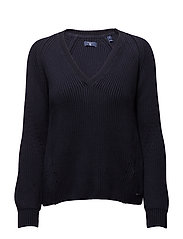 O1. CHUNKY RIBBED V-NECK - EVENING BLUE