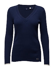 RIBBED COTTON V-NECK - PERSIAN BLUE