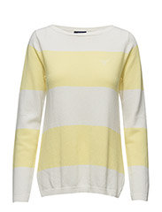 O.1 BLOCK STRIPE PIQUE BOAT NECK - LIGHT YELLOW