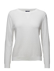 TECH PREP TEXTURED COLLEGE CREW - WHITE
