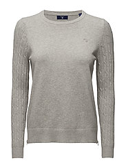 SPORTY STRETCH COTTON CABLE CREW - LIGHT GREY MELANGE
