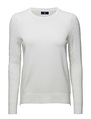 SPORTY STRETCH COTTON CABLE CREW - WHITE