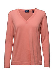 FINE MERINO WOOL V-NECK - SHELL PINK