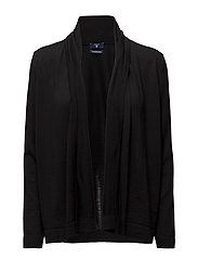 FINE MERINO WOOL DRAPED CARDIGAN - BLACK