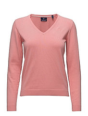 LT WT COTTON V-NECK - STRAWBERRY PINK