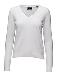 LT WT COTTON V-NECK - WHITE