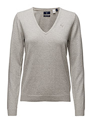 SOFT COTTON V-NECK - LIGHT GREY MELANGE