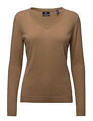 COTTON WOOL V-NECK - CAMEL MELANGE