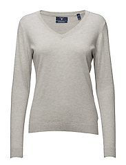 COTTON WOOL V-NECK - LIGHT GREY MELANGE