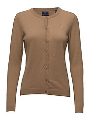 COTTON WOOL CREW CARDIGAN - CAMEL MELANGE