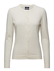COTTON WOOL CREW CARDIGAN - CREAM