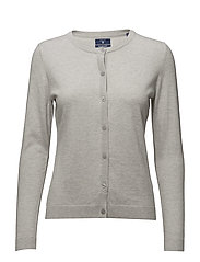 COTTON WOOL CREW CARDIGAN - LIGHT GREY MELANGE