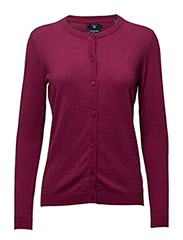 COTTON WOOL CREW CARDIGAN - RASPBERRY PURPLE