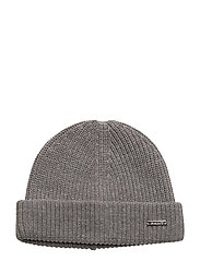 O1.COTTON BLEND RIB BEANIE - DARK GREY MELANGE