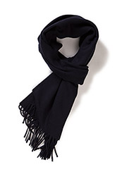 SOLID LAMBSWOOL WOVEN SCARF - NAVY